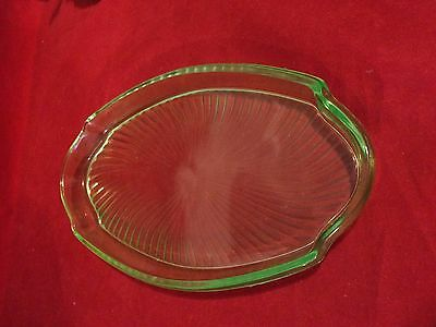 "Green  Glass Oval Plate 10"" x 5 1/2"""" Vintage"