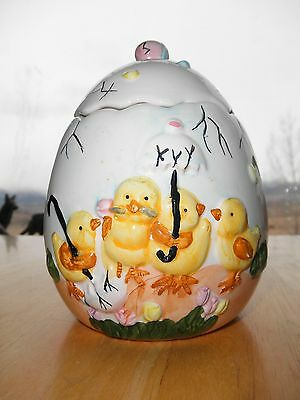 Vintage Old Ceramic Pottery EASTER Chicken EGG Covered Dish Baby Chicks Umbrella