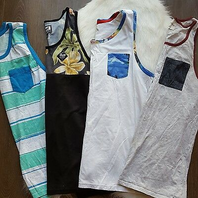 mens sz L lot of 4 tank tops printed fission on the byas neff