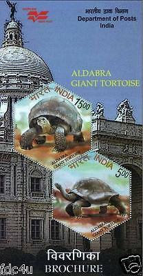 India Fdc 2008 First Day Brochure& Stamps Aldabra Giant Tortoise