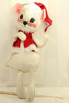 Annalee Mouse Chritmas 1965 Holiday Mouse Large 17 inches with Santa Hat
