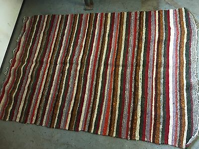 """Antique Handmade Wool Rug 73"""" X 50"""" Bought In Amish County Belleville PA"""