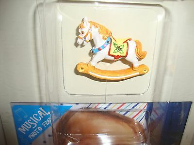 Baby Shower Rocking Horse Musical Baby Picture White Metal Photo Frame NIB New