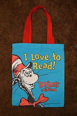 DR. SEUSS Cat in the Hat I LOVE TO READ blue mini tote bag GENTLY USED - RARE