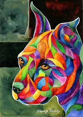 PIT BULL I Original 5x7 Acrylic Framed DOG Painting by Sherry