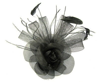 Pink fascinator comb in dusky dark chiffon flower with feather tendrils