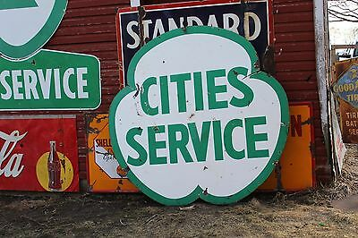 SCARCE 1950's CITIES SERVICE  PORCELAIN SIGN GASOLINE OIL 66 MOBIL TEXACO 3