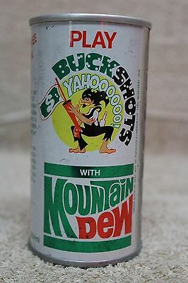 SCARCE 1970's 10oz MOUNTAIN DEW CAN PLAY BUCKSHOTS $ YAHOOOOO HILLBILLY