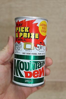 SCARCE 1970's 10oz MOUNTAIN DEW CAN SANYO PICK A PRIZE LISTEN TO 1050 CHUM RADIO