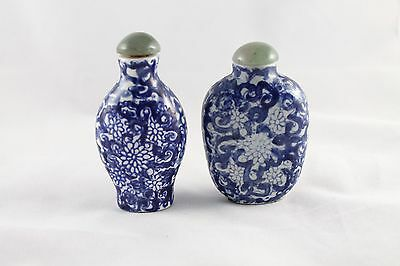 Chinese Blue And White Porcelain Snuff Bottles Lot Of Two Signed