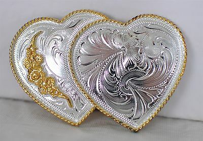 Women's 2 Hearts Silver Plated Belt Buckle - Western Etched