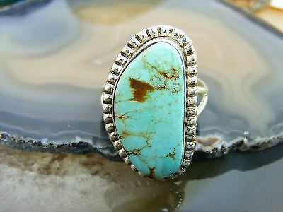 Vtg Navajo Sterling Silver Baby Blue Royston Bean Turquoise RING Siz 8.5 Signed