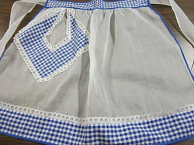Vintage 1950s Half Kitchen Apron Organdy & Blue Gingham Fabric & Lace