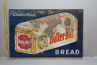 1940's BUTTER NUT BREAD EMBOSSED METAL SIGN GENERAL STORE 66 TEXAS FARM SEED