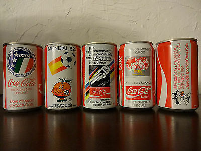 Coca Cola Lot of 5 Can FIFA Winter Olympic Games World Cup Italy 80s Rare