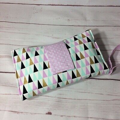 Nappy wallet/ diaper clutch lilac grey, gold, feathers, bunny, triangle