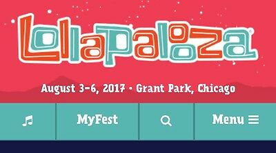 2 Lollapalooza 4 day VIP wristbands August 3-6, 2017