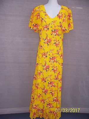 Vintage Bright Yellow With Flowers Maxi Long  Dress Size  8 To 10