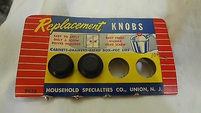 Vintage HOUSEHOLD SPECIALTIES REPLACEMENT Wood Knobs on ORIGINAL CARD 1940'S