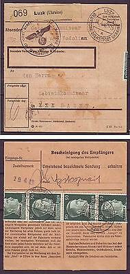 c1459/ Deutsche Reich Post in Luzk Ukraine Paketkarte Brief 1943