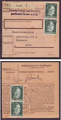 c1461/ Deutsche Reich Post in Luzk Ukraine Paketkarte Brief n/Gen.Kommissar 1943
