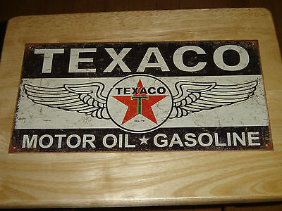 "Wings of Texaco Motor Oil Gasoline  Tin/Metal Sign, Excellent! 16"" X 8 1/2 "" NEW"