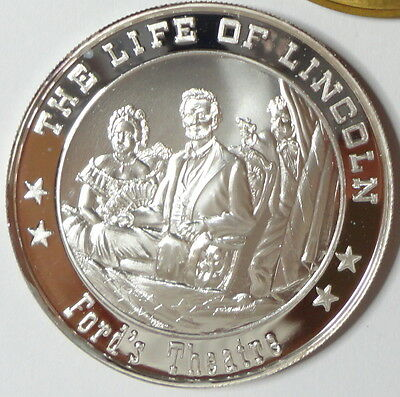 Life Of Lincoln FORD'S THEATRE .999 Sterling Silver Coin Medal