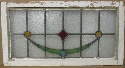 """OLD ENGLISH LEADED STAINED GLASS WINDOW TRANSOM Nice Abstract 31.25"""" x 16.5"""""""