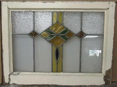 """OLD ENGLISH LEADED STAINED GLASS WINDOW Pretty Diamond 22.5"""" x 16.75"""""""