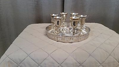 """6 silver plated sherry goblets 3"""" 3/4 with silver plated tray."""