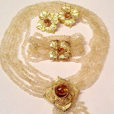 18K Solid Yellow Gold Set of Citrines Necklace, Bracelet and Earrings 157g
