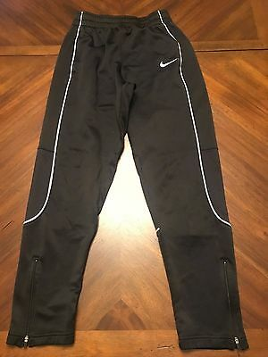 Nike Dri Fit Black Soccer Knit Pants Zip Bottom Size Youth XL / Mens Small