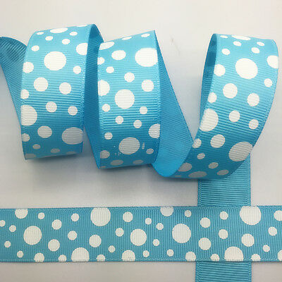 NEW~ 5 Yards 1Inch 25mm Wide Printed Grosgrain Ribbon Hair Bow DIY Sewing #A079