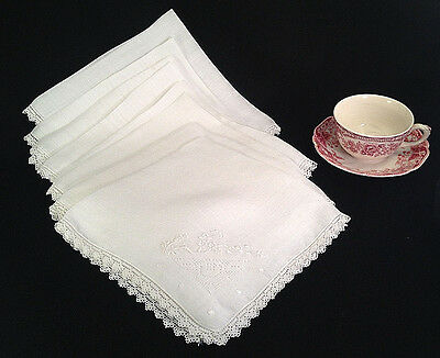 "8 Vintage Dinner Napkins Off White Lace Edge 17"" Square"