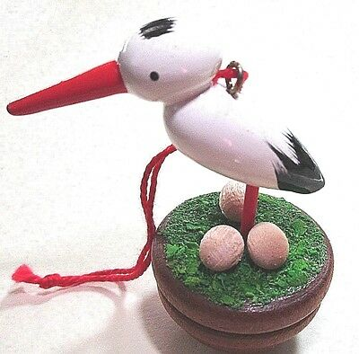 Wood Christmas Ornament= Stork In A Nest With Eggs=Holzkunst= Ulbricht