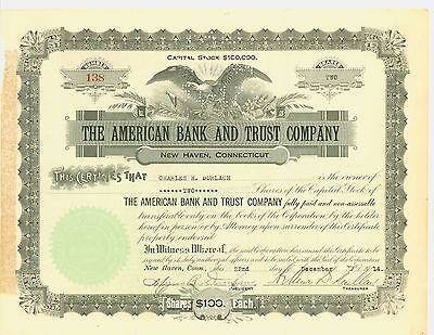 1914 Stock Certificate-THE AMERICAN BANK AND TRUST COMPANY, NEW HAVEN, CT
