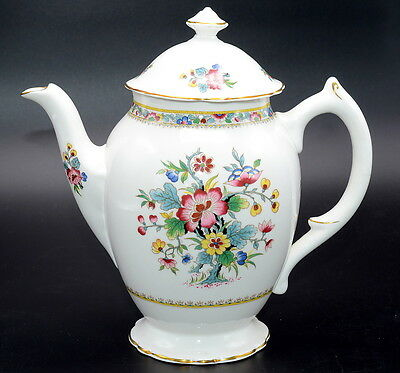 ***CRACKED***  Coalport Ming Rose COFFEE POT Should Be Used For Display Only