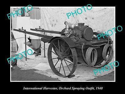 Old Large Historic Photo Of International Harvester Orchard Spraying Outfit 1940