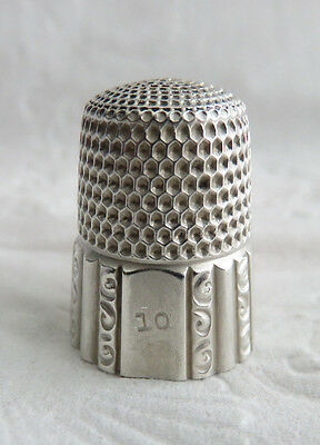 Antique Sterling Silver Simons Brothers Sz.10 Paneled Thimble