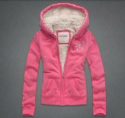 NWT Abercrombie Kids Girls Sherpa Lined  Hoodie size XL PINK