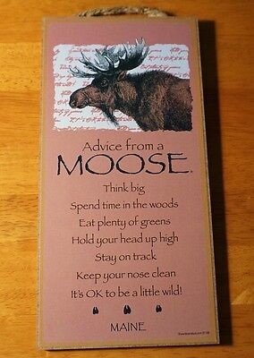 ADVICE FROM A MOOSE - STAY ON TRACK - THINK BIG  Lodge Cabin Sign Home Decor NEW