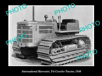 OLD LARGE HISTORIC PHOTO OF INTERNATIONAL HARVESTER T-6 CRAWLER TRACTOR c1940