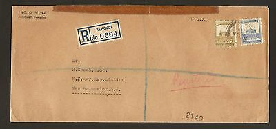 Palestine Registered Cover To Usa  Levant Fair Left In 1935 And Arrive In 1936 !