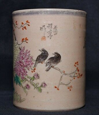 Exquisite Rare Old Chinese Hand Painting Porcelain Brush Pot Marks FA353