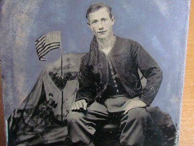 Civil War Zouave soldier full plate tintype photograph