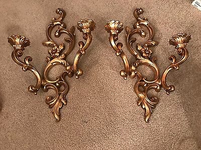 Beautiful Vintage 1959 Syroco Plastic Gold 2 Candle Holder Wall Sconces