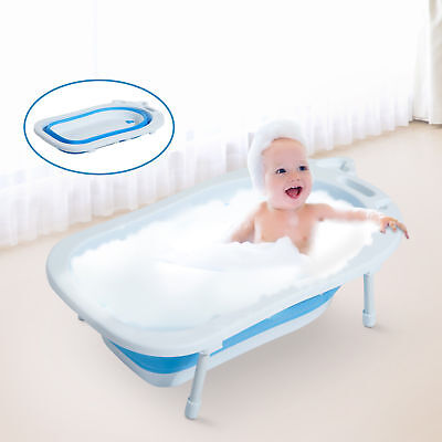 HOMCOM Collapsable Baby Bath Tub Foldable Toddler Kids Wash Play Plastic Infant