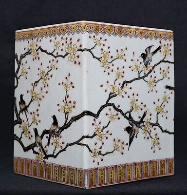 Rare Old Chinese Hand Painting Porcelain Brush Pot Marked QianLong FA356