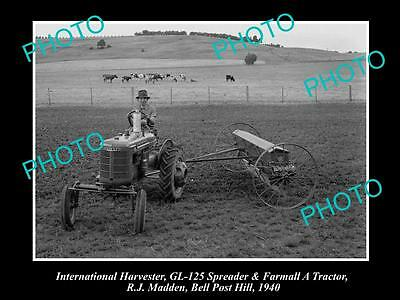 Old Historic Photo Of International Harvester Gl-125 Spreader, Farmall A Tractor