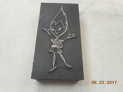 Printing Letterpress Printers Block, Decorative Fire Girl, Printers Cut